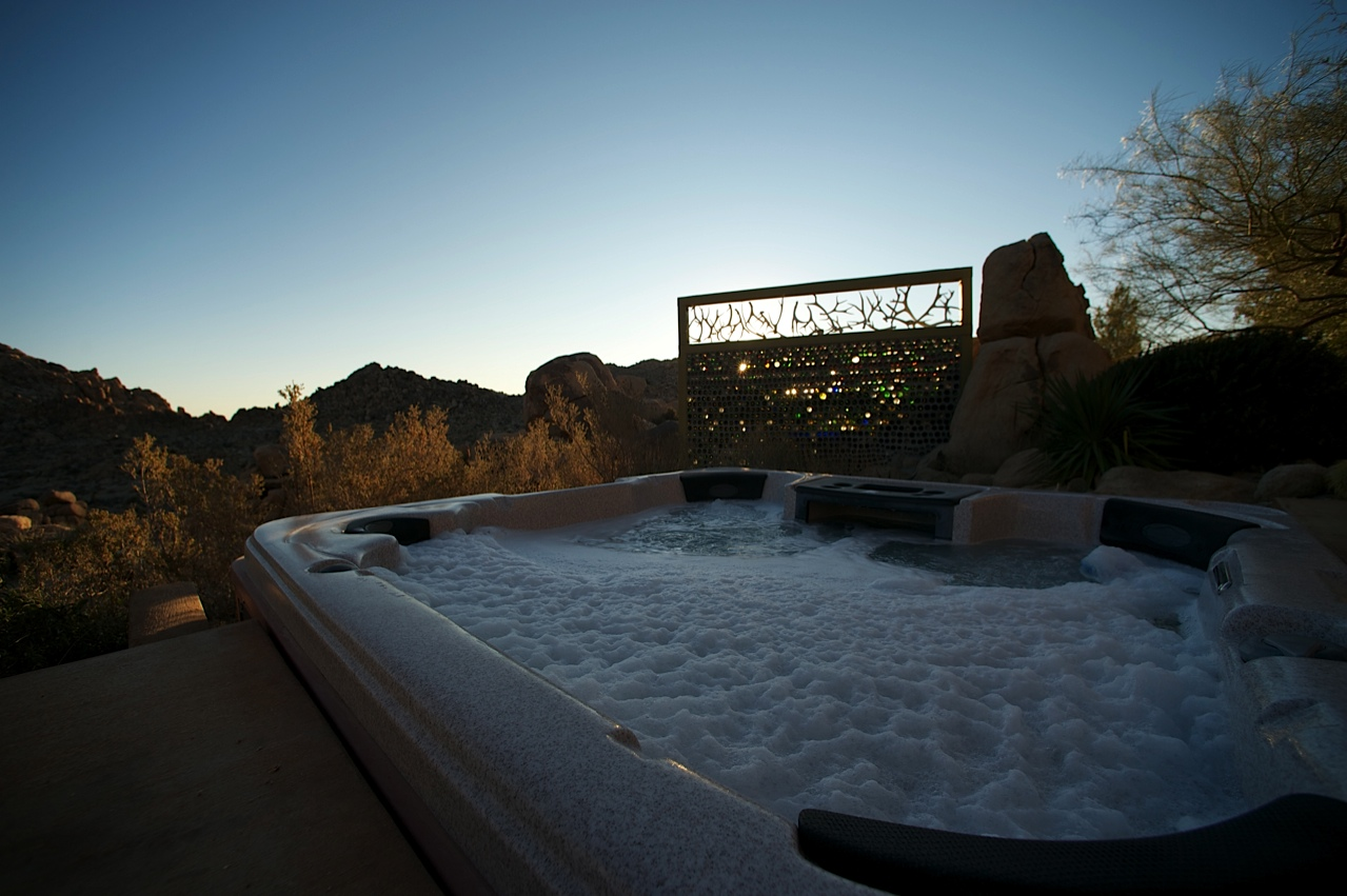 Jacuzzi and bottle wall
